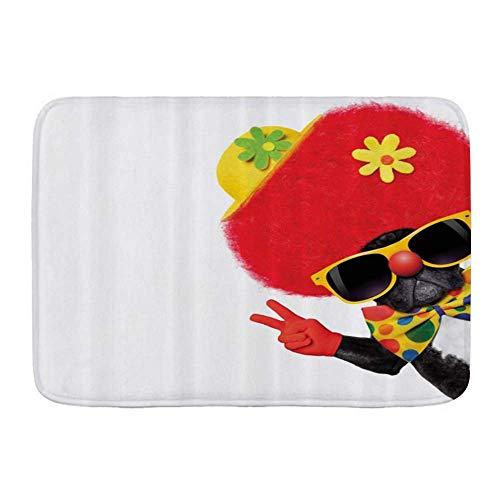 Alfombra de bao, Payaso divertido perro con sombrero de disfraz de payaso con flores haciendo el cartel de melocotn posando, Alfombrillas de felpa para decoracin de bao con respaldo antideslizante