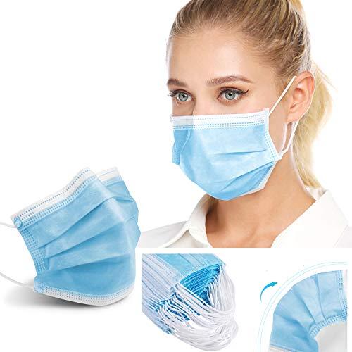 Moon-Valley 100 Stück Mundschutz Maske 3-lagig Masken Mund-Nasenschutz Staubmaske Gesichtsmaske Einwegmaske Abdeckung schutzmasken Atmungsaktiv Atemschutz Gesichtschutz