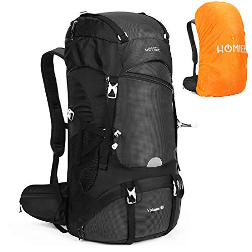 HOMIEE 50L Hiking Backpack with Rain Cover Internal Frame Backpacking Backpack for Outdoor Sport Climbing Camping