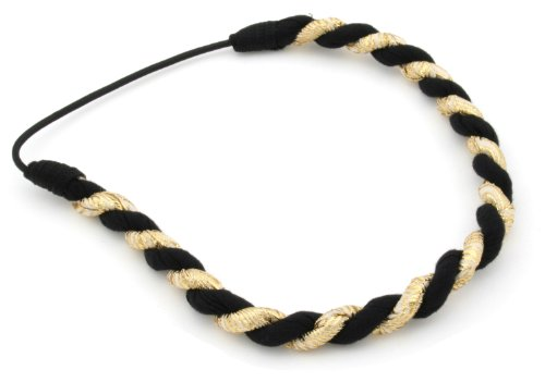 Gold Lurex & Black Chunky Twist Head Band Hair Accessories by Zest by Zest