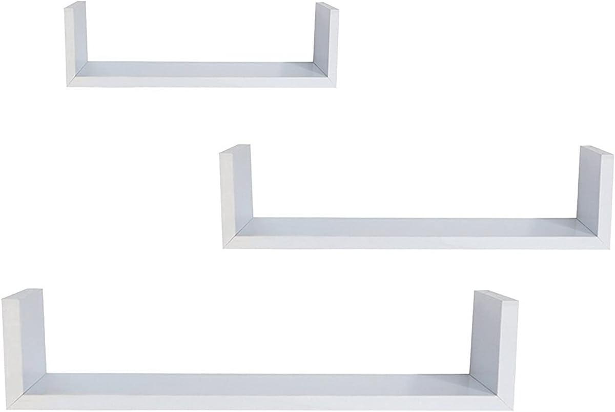 YZX White Set of 3 Floating Display Shelves Online limited product Bookshelf Ledge Fashion Wall