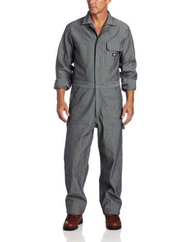 Dickies Men's Long Sleeve Cotton Coverall, Fisher Stripe, Medium/Regular