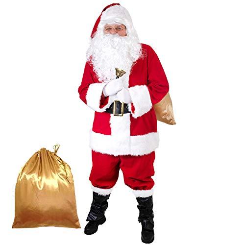 Men's Santa Costume 11pcs Christmas Santa Claus Suit Deluxe Velvet Cosplay Party Suit Set for Adults