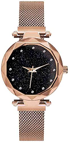 JZDH Mano Reloj Reloj de Pulsera Lujo Rosa Oro Mujeres Relojes Starry Sky Magnético Mujer Reloj de Pulsera Impermeable Rhinestone Reloj Relogiono Relojes Decorativos Casuales (Color : Rose)