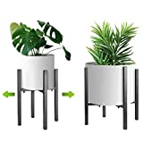 Adjustable Metal Plant Stand, 8 to 12 inches, Mid Century Modern Plant Stand,Indoor Plant Stand Holder, Fit 8 9 10 11 12 inch Pots, Black(Planter and Pot Not Included)