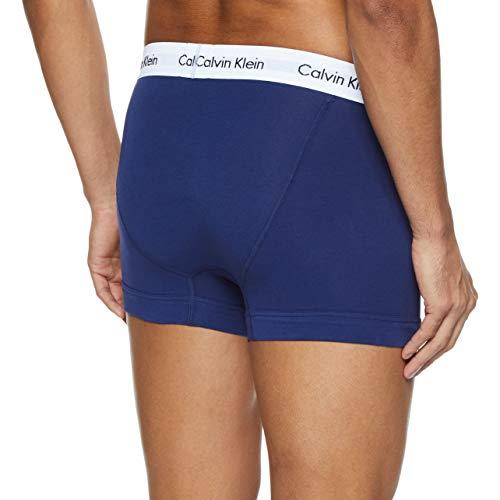 Calvin Klein Underwear Men's Trunks Pack of 3 - Cotton Stretch, Multicolour (White/Red Ginger/Pyro Blue), Medium
