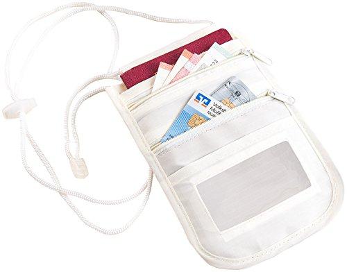 Xcase Unisex-Brustbeutel mit RFID-Schutz, Reise-Organizer, 4 Fächern, beige
