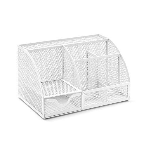 Osco MD01-SLV - Organizador de escritorio de malla metalica, color blanco