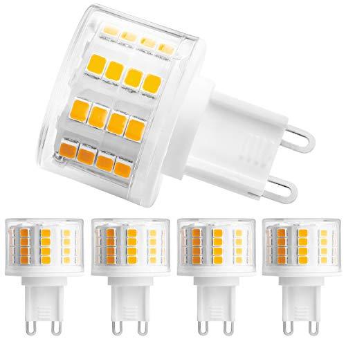 G9 LED Bulbs, HengBo LED 50 Watts Bi Pin G9 Halogen Bulbs Replacement, 5-Pack G9 Light Bulbs Warm White 3000K