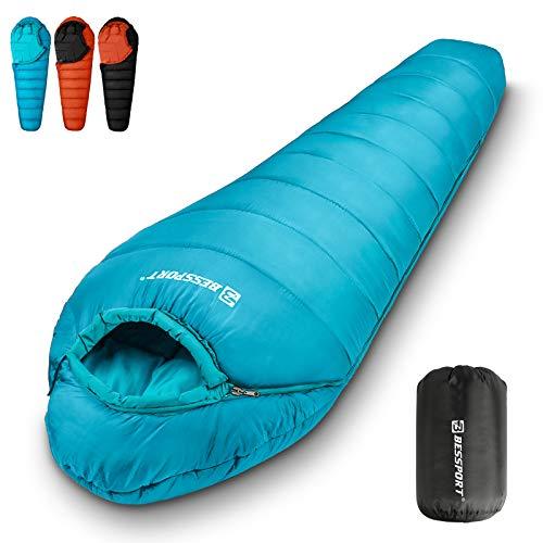 Bessport Saco de Dormir Ultraligero Momia 0ºC-10ºC Saco de Dormir Adulto,para Senderismo, Viajes y Actividades al Aire Libre(2kg)