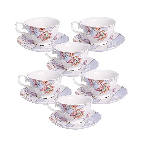 fanquare Juego de 6 Tazas de Café Florales, Tazas de Porcelana para Capuchino con Platillos, Taza de Té para Cumpleaños, Bodas y Fiestas, Morado(150 ml)