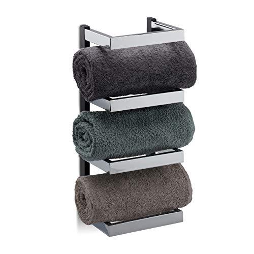 Relaxdays Handtuchregal Design, Fächer für Handtücher, Chrom, Handtuchablage hängend, HBT: 44x18x16 cm, Silber/schwarz