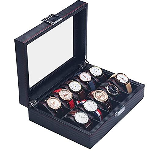 Joyero Organizador De Caja De Reloj Con Bandeja Ajustable Superior De Vidrio Bisagra De Metal Diseño De Fibra De Carbono 10 Ranuras Estuche De Almacenamiento De Reloj Para Hombres-negro