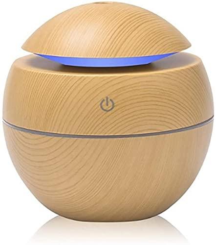 lkpqdwqz Difusor de Aroma ultrasónico de 130 ml, ambientador humidificador de Niebla fría purificador de Aire portátil de Grano de Madera con luz LED de 7 Colores para el hogar