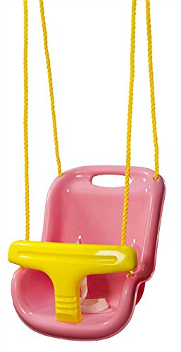 Gorilla Playsets 04-0032-PK High Back Plastic Infant Swing with Yellow T bar & Rope, Pink with Yellow
