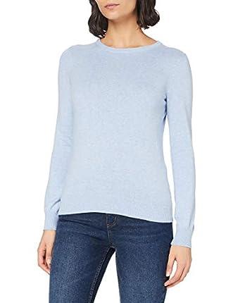 Marca Amazon - MERAKI Jersey de Algodón Mujer Cuello Redondo, Azul (Ocean Blue), 38, Label: S