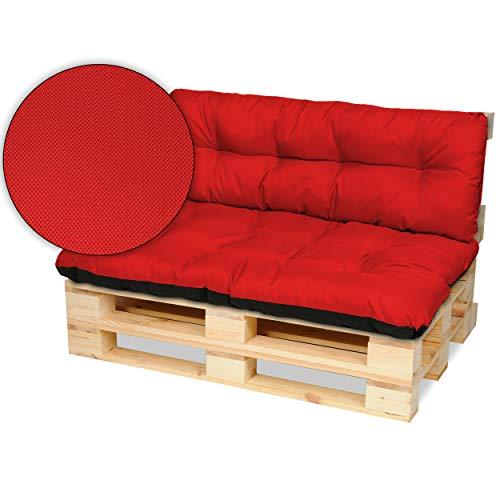 SuperKissen24 Palettenkissen Palettenauflagen Sitzkissen - 120x80 cm und Rückenlehne 120x38 cm - Outdoor und Indoor - rot