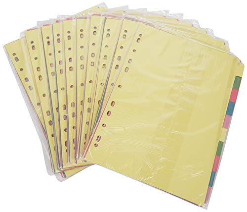 5 Star Subject Dividers Multipunched Manilla Board 10-Part A4 Assorted 1 X PK10