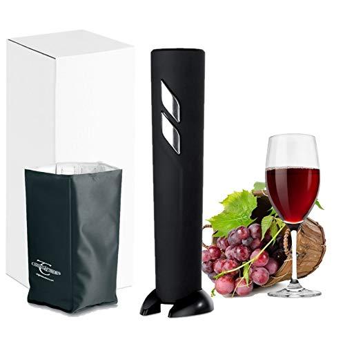 Sacacorchos Electrico, Abridor Botellas de Vino, Incluye cortacapsulas y cubitera de regalo, funcionamiento a pilas AA no incluidas (Negro Top)