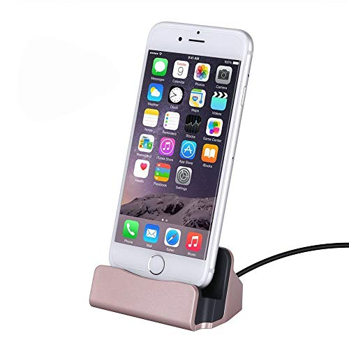 Home-Neat Docking Station per iPhone con Cavo di Ricarica Stazione Base 1m - per Smartphone Apple x, 8, 7, 6s, 6, 5, iPod (Rosa)
