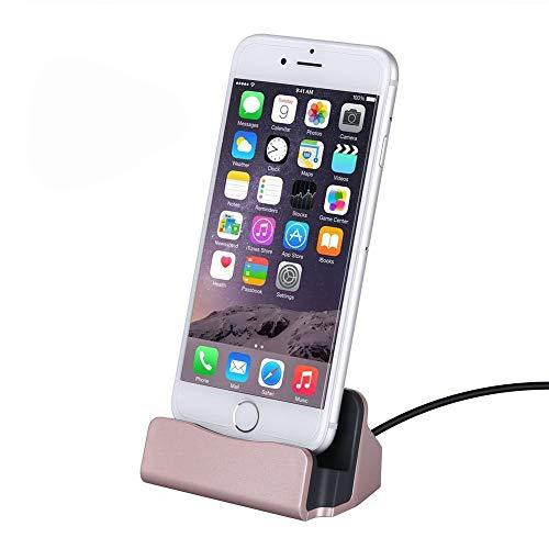 Home-Neat estación de Carga, Muelle de Carga Soporte para iPhone 7 6S 6 Plus 5S SE 5C y tabletas (Plateado) (Rosa)