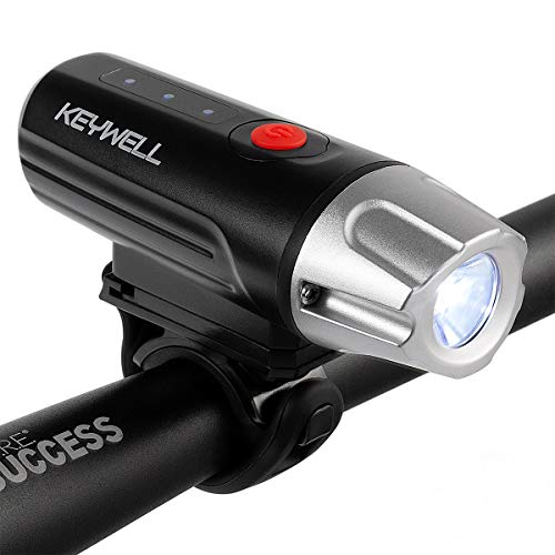 KEYWELL USB Rechargeable Bike Headlight-Super Bright LED Front Bicycle Light with Battery Indicator, Long Runtime, IPX5 Water Resistant for Cycling Safety Flashlight (Black)