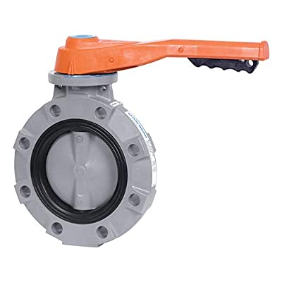 """Hayward BYV22020A0VL000 Series BYV Butterfly Valve, Lever Operated, CPVC Body, CPVC Disc, VITON and FPM Seals, 2"""" Size from Hayward Industries"""