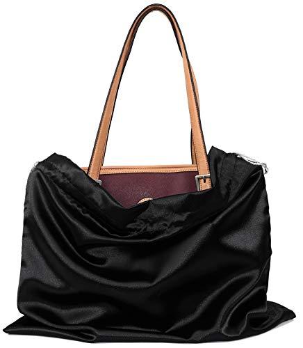 BlesMaller Bolsa para zapatos con cordón, bolsa de almacenamiento de seda para bolso, cartera, libros de bolsillo, zapatos, botas, 50 x 40 cm (negro)