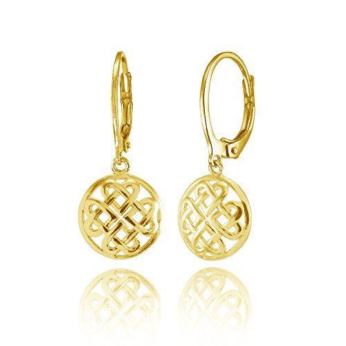 Yellow Gold Flashed Sterling Silver Celtic Heart Knot Filigree Dangle Leaverback Earrings