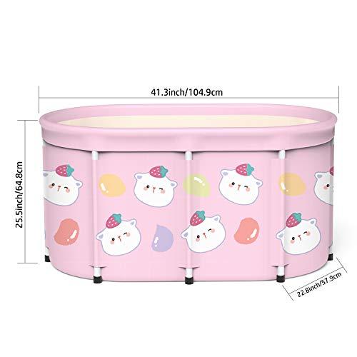 Portable Foldable Bathtub, Separate Family Bathroom SPA Tub, Eco-Friendly Bathing Tub for Shower Stall, Efficient Maintenance of Temperature, Ideal for Spa Hot bath ice bath,41.3''x25.5''x22.8''(Cat)