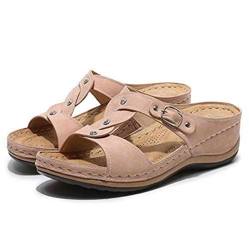 Chanclas de tela suave para mujer, elegantes sandalias de playa, cuñas de verano y taladros de agua para las sandalias de unión de mujer, color Rosa, talla 40.5 EU