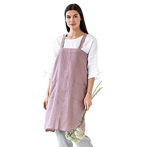 MagicLinen 100% Linen Apron - Japanese Cross Back Apron with Pockets for Women and Men - Pinafore Style, Pink, L-XL