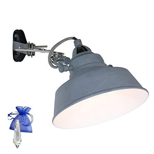 Klemmleuchte Grau matt E27 Fassung 230V Vintage Klemmlampe Wandleuchte Industrial Leselampe für LED und Glühlampe im Werkstatt-Leuchte Fabriklampen Loft-Lampe Retro Look 1320GR + Giveaway