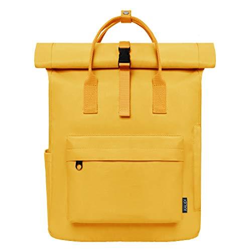 KALIDI Rucksack Damen Rucksack Herren Tagesrucksack mit Laptopfach, Unisex Modern Rolltop Rucksack Daypack, Wasserdichter Schulrucksack,Lässiger Backpack Schule Freizeit Uni (Gelb)