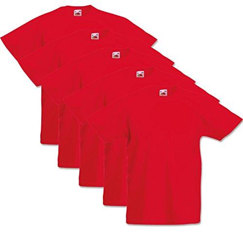 5 Fruit of the loom Kinder T-Shirts Valueweight 104 116 128 140 152 Diverse Farbsets auswählbar 100{6c5a729c93cec7f7b9e49c89e66a9c6b741b461e24c3e9854fe07857b380df13} Baumwolle (152, Rot)