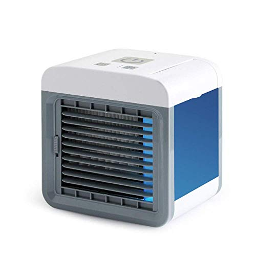 GUONING-L USB Fan, USB Mini Spray Air Cooler Small Air Conditioning Spray Humidifier Desktop Office Fan (Color : Blue, Size : 16.5x13.5x16.5cm)