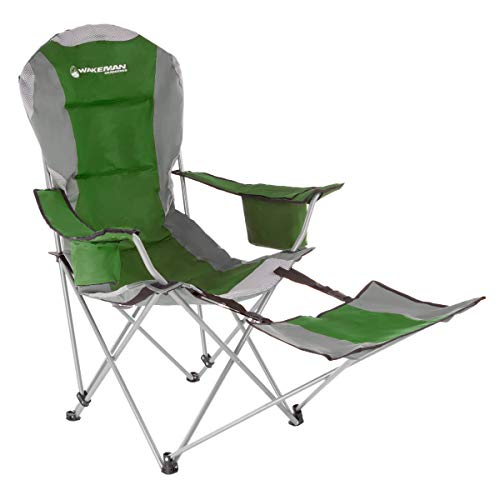Wakeman Outdoors Camp Chair with Footrest-300lb. Capacity Recliner Quad Seat-Cup Holder, Cooler, Carry Bag-Tailgating, Camping, Fishing (Green)