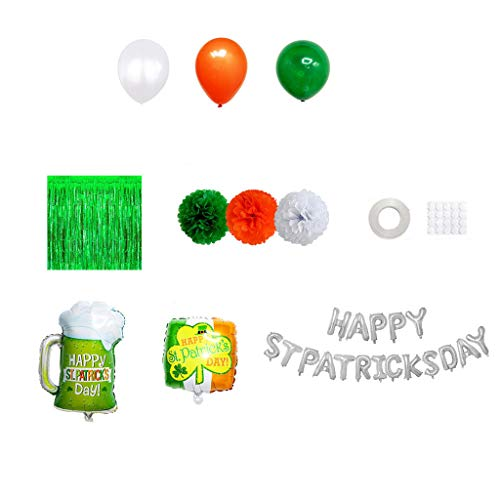 minjiSF Weinglasballon für Zuhause Grüner Klee Aluminiumfolie Irisches Luftballons Set Holiday Party Dekoration St.Patrick's Day