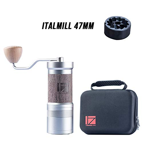 1Zpresso Manual Coffee Grinder JE-PLUS Series Light Gray DLC Coating burr, Fine Upper Adjustment Nut Design, Magnetic Powder Receiver, Coffee Beans Ground Faster Grinding Efficiency Espresso to Coarse French Press Hand Grinder, Handle Mill, Perfect for Espresso