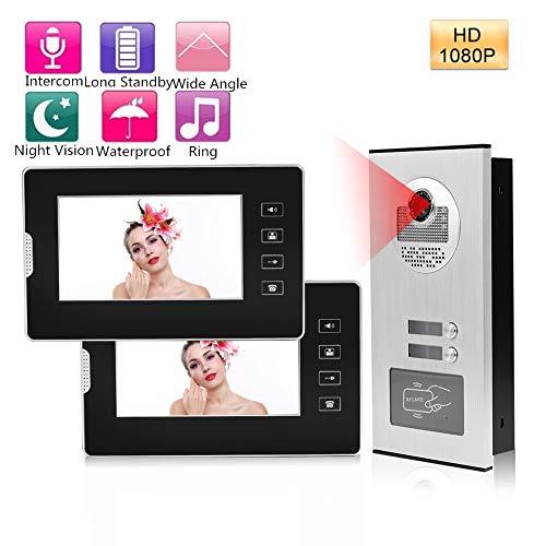 Garsent Video Türklingel mit 2 Monitor, Video Türsprechanlage Intercom Türklingel mit Nachtsicht Kamera für 1/2 Familienhaus