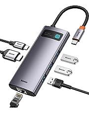 Baseus Hub USB C Adattatore Multiporta 6 in 1 Tipo C Hub Portatile con HDMI 4K, Porta 1Gbps Ethernet, 3 USB A 3.0, USB C PD da 100W Compatibile Per MacBook Pro/Chromebook/XPS & Dispositivi USB C
