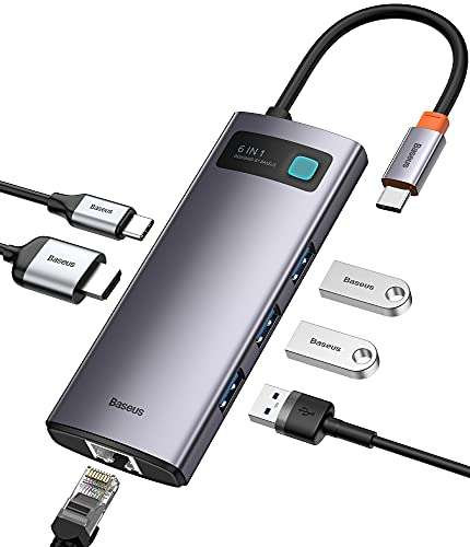 Baseus USB C Hub Adapter, 6 in 1 Multiport Dock with 4K HDMI, 1000Mbps Ethernet, 100W USB-C, and 3 USB A 3.0, Type C Dongle Compatible with MacBook Pro/Air, XPS, iPad Pro, Laptop, Samsung S20 and More