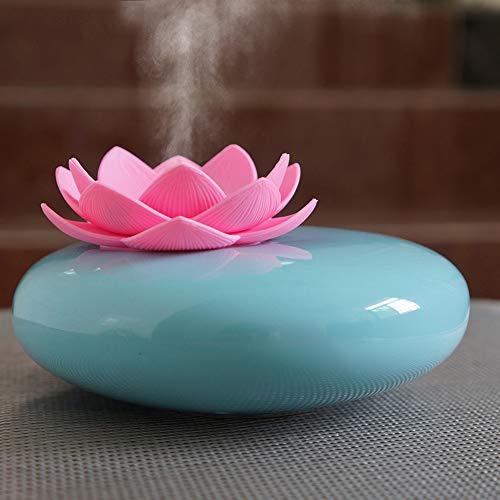 Diffusor aus ätherischen Keramikölen,niedliche dekorative USB-Aromatherapie-Diffusoren Lotusblumen-Luftbefeuchter Bastelornamente,12-Stunden-Timer für das Büro zu Hause im Büro Yoga SPA (Blau,Rose)