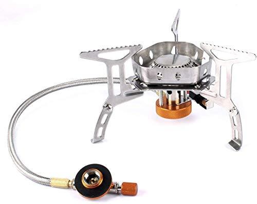 Pulchram 3500W Estufa de Gas Plegable para Acampar con Encendido Piezoeléctrico, Estufa Portátil Al Aire Libre para Cocinar con Estuche Portátil (3500W Actualizar)