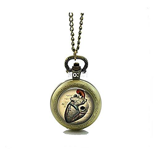 Anatómico corazón reloj de bolsillo flotante de cristal cerraduras collar estilo retro...