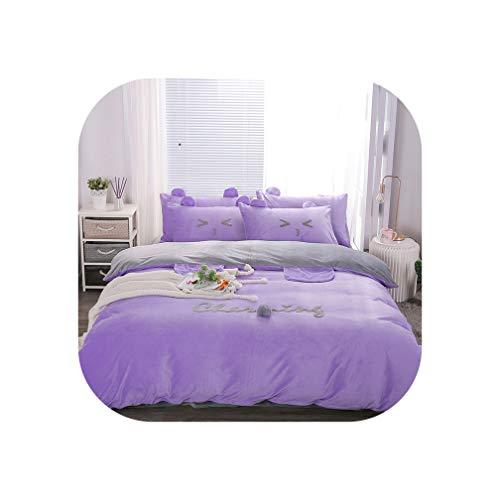 Cute Bear Ear Yellow Pink Gray Blue Fleece Fabric Winter Girl Bedding Set Soft Velvet Duvet Cover Bed Sheet/Linen Pillowcase,6,Queen Size 4pcs
