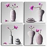 Cuadros modernos de macetas chinas – 4 piezas 30 x 30 cm cada uno. Impresión sobre lienzo Canvas Flores Zen Decoración Arte Abstracto XXL Decoración para salón, baño, salón, dormitorio