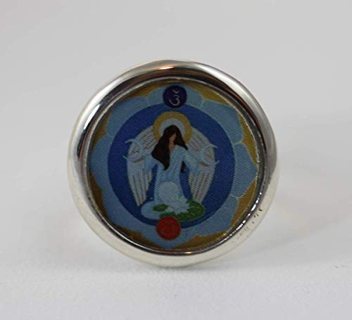 ANGELOUDIA Engel Ring HANIEL Schutzengel Glücksbringer Schmuck Blau Dunkelblau Hellblau Himmelblau Erzengel Schutzengel Chakra Blume Symbol Multikulturell