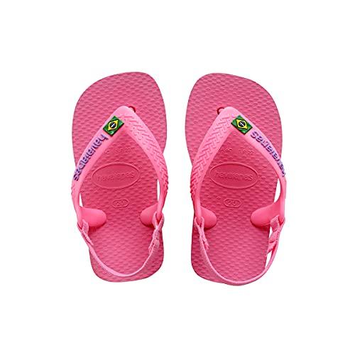 Chinelo Brasil Logo, Havaianas, Bebê Meninas, Rosa Cristal, 20