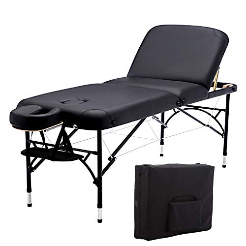 """Artechworks 28"""" Wide Professional 3 Folding Portable Massage Table Facial Salon Spa Tattoo Bed With Aluminium Leg(2.56"""" Thick Cushion of Foam) for Home Office Living Room, Black"""